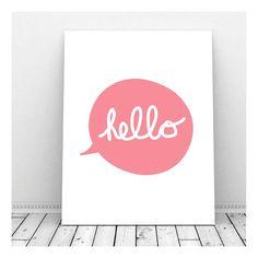 Hello Poster Hello Print Hello Paper Hello Sign by CallMeArtsy, $5.00