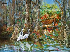 Louisiana Art Canvas Print featuring the painting The Gathering - Louisiana Swamp Life by Dianne Parks Louisiana Swamp, Louisiana Art, New Orleans Art, Fine Art Prints, Canvas Prints, Canvas Art, Thing 1, Wildlife Art, Landscape Paintings