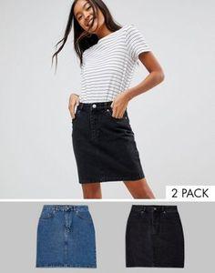 f8a864164508 ASOS DESIGN - Lot de 2 jupes taille haute en jean original - Noir délavé et  bleu moyen - Économie 16% at asos.com
