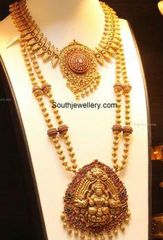 Antique Gold Peacock Necklace and Gundla Mala photo