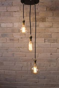 3 drop ceiling pendant cord with edison light bulbs…