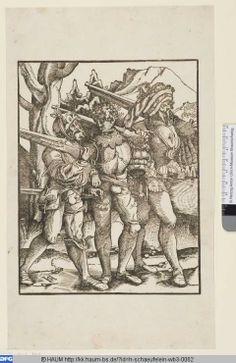 Hans Leonhard Schäufelein: Drei Musketiere. 1513. Herzog Anton Ulrich-Museum, Signatur HSchäufelein WB 3.62, Inv. Nr 51 (WB) - http://kk.haum-bs.de/?id=h-schaeufelein-wb3-0062