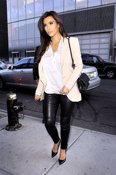 Kim Kardashian's Leather Leggings -- Yes or No?