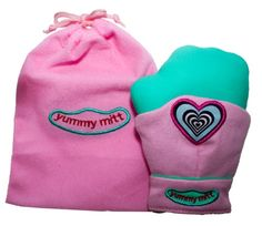 Pink yummy mitt. Teething glove for young babies who cannot hold teething toys. A teething must have!