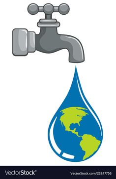 World droplet coming from tap concept vector image on VectorStock Save Water Poster Drawing, Save Earth Drawing, Water Drop Vector, Graffiti Wallpaper Iphone, Earth Drawings, Creative Design Agency, Beautiful Landscape Wallpaper, Save Our Earth, Environmental Studies