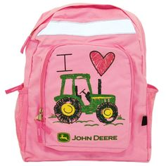 Pink Backpack - I Heart Tractor | RunGreen.com