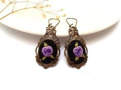 Agnes Hand embroidered earrings in purple and black by ConeBomBom