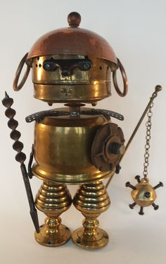 Steampunk Sculpture - Found object robot assemblage - Repurposed Art - Junk Bot