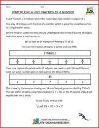 This printable information sheet will help you understand how to find unit fractions of a number