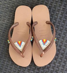 Multi Colored Beaded Flip Flops Bohemian Decorated Sandals