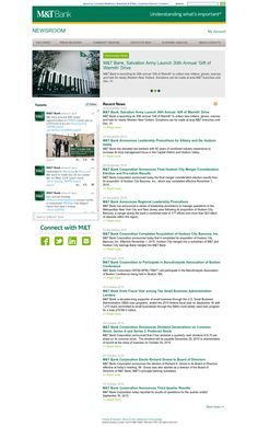 M&T Bank recently launches online newsroom. It includes news releases, research reports, social media content and executive bios. Research Report, Business Goals, Social Media Content, Helping People, Accounting, Investing, Product Launch, News, Business Accounting
