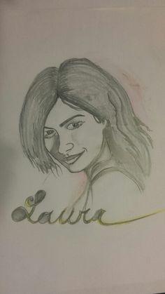 Laura Pausini disegnata da Flavio Monterosso.