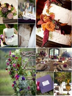 i like the combination of table linen color and the palette of fig, purple, gold, ivory and white