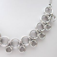 Silver Japanese style chainmaille necklace - Tattooed and Chained Chainmaille - 2