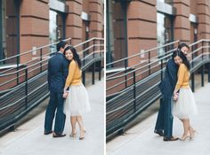 Alyssa and Gary  A couple shares a moment together during their engagement session at the High Line in NYC. Captured by NYC wedding photographer Ben Lau.  NYC Hair and Makeup Team: VickyC5 Lifetime Beauty Partner!