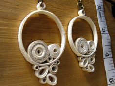 White Knit Earrings by CharmCityQuills on Etsy, $25.00
