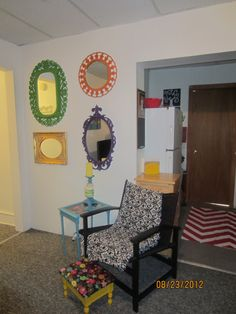 College Chic Girls Apartment, Small college apartment decorated on a budget using thrift store and yard sale up-cycles.., Spray painted thrift store mirrors and side table. Chair also from thrift store.         , Dorm Rooms Design