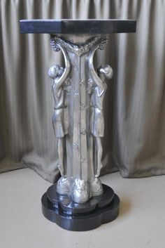French Art Deco Bronze Figurine Side Table Marble Top