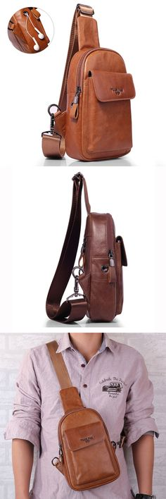 Soft Leather Crossbody Bag Multi-function Vintage Chest Bag Camera Bag.Wax Oil Skin (Genuine Leather). 2 Colors: Yellow Brown, Dark Brown. Design of hole for earphone.