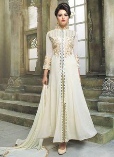 Designer Cream Party Wear Dress