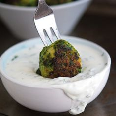 Chicken-Spinach Meatballs with Creamed Feta Paste - Full of green goodness. packed with flavor, and lick-the-plate-clean good!