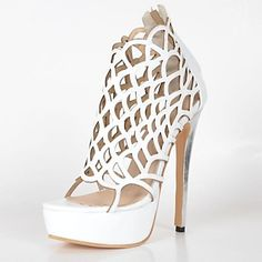 BC™ Women's High Heels White Gladiator Zip Sandals - USD $ 59.99