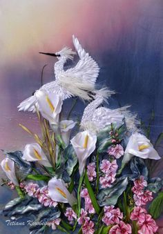 """Embroidered picture """"Stoks in evening"""""""", Silk ribbon embroidery, flowers, handembroidery, ribbonwork di SilkRibbonembroidery su Etsy"""