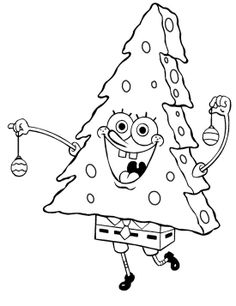 Spongebob Merry Christmas Coloring Page