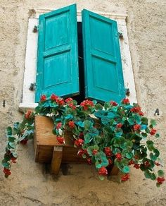 A beautiful window box full of flowers found near Lake Garda in northern Italy