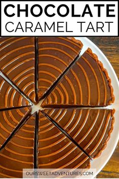 Learn how to make this easy and rich Chocolate Caramel Tart. This recipe includes a sweet chocolate tart dough with an oozy caramel filling topped with a silky smooth dark chocolate ganache. One bite of this decadent dessert and you will be in heaven! #Recipe #Dessert #Chocolate #Caramel | Sweet Tart | Dessert | Recipe Easy | Dessert Recipe | How to Make | Chocolate Caramel | Salted Chocolate Caramel |Tart Dough | Tart Recipes, Best Dessert Recipes, Desert Recipes, Easy Desserts, Baking Recipes, Kitchen Recipes, Delicious Recipes, Sweet Recipes, Chocolate Caramel Tart