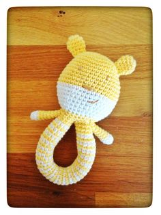 Baby rattle I made for a friens who just had a son. Pattern is from http://isitatoy.blogspot.se/2012/10/teddy-rattle-free-pattern.html #crochet #toy
