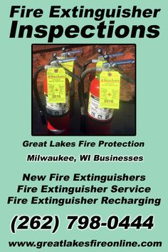Fire Extinguisher Inspections Milwaukee, WI (262) 798-0444.. Local Wisconsin Businesses you have found the complete source for Fire Protection. Fire Extinguishers, Fire Extinguisher Service.. We're got you covered.. Great Lakes Fire Protection