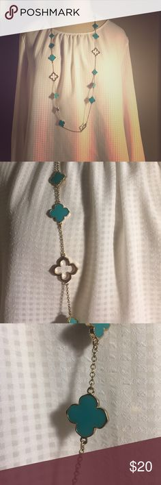 Gold and turquoise necklace Cute necklace-never worn! Adjustable length. Francesca's Collections Jewelry Necklaces