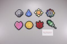 Perler and Artkal fuse bead Pokemon Kanto Gym Badges by Manic Made Geekery