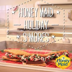 S'mores in December – yes please! Check out our holiday twist on our Classic Smores recipe. Just add sprinkles and you have the perfect dessert that even the kids can help bake! Holiday Baking, Christmas Desserts, Christmas Treats, Snack Recipes, Dessert Recipes, Cooking Recipes, Snacks, Delicious Desserts, Yummy Food