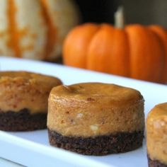 Mini pumpkin cheesecakes with a lovely ginger snap cookie crust. Perfect bite size fall dessert!
