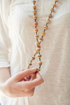 Natural Color Recycled Paper Bead Necklace by BeautifulResponse