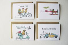 Traveling Pugs Assorted Cards set of 8 by Lydiaandpugs on Etsy, $16.50