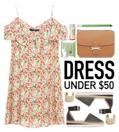"""""""Dress Under $50"""" by justkejti ❤ liked on Polyvore featuring See by Chloé, MANGO, Urban Decay, Pixi, floralprint, zara and Dressunder50"""