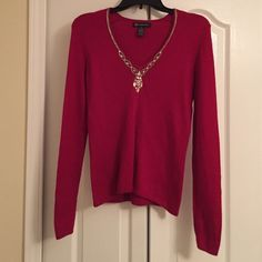 INC red sweater with bling Silk, nylon, and angora. Red sweater very good condition. No pils runs or anything detrimental. Great with jeans or for a fall/winter party. Soft and comfortable. Dry clean only INC International Concepts Sweaters V-Necks