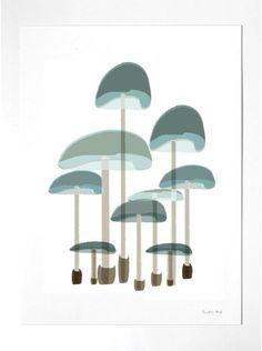 Mushrooms Print Mushroom Illustration Botanical by nicemiceforyou Simple Illustration, Pattern Illustration, Botanical Illustration, Graphic Illustration, Lake Art, Mushroom Art, Art And Craft Design, Art Courses, Nature Prints