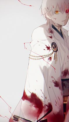 Tags: Anime, Yori, Touken Ranbu, Tsurumaru Kuninaga, Blood On Face, Touken Danshi (Rekishi Shuusei Shugi-sha), Chain Necklace