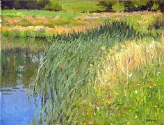 """The Pond at Monieux - Oil on canvas 12"""" x 12"""""""