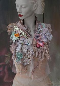 Inspiration- old laces and textiles, nature, antique garments. Bohemian romantic shabby chic neck wrap/collar in shades of warm pale greens, dusty blue, pale teal; is slightly asymmetric and can be worn over cardi, jacket, tshirt etc. to spice it up; You can see a collage of various torn