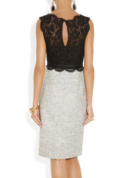 Valentino belted lace and tweed dress