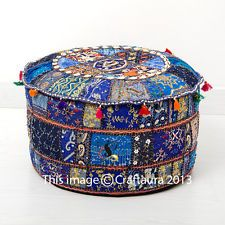Ethnic Pouf Ottoman Blue Round Poof Pouffe Foot Stool Indian Floor Pillow Decor