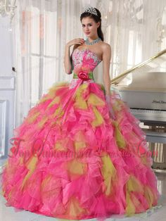 Appliques Organza Sweetheart Quinceanera Dress with Detachable