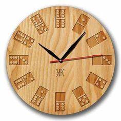 Jam Dinding Domino Motif Texture Kayu - Handicraft Unik Wall Clock - Kool Katz 110816