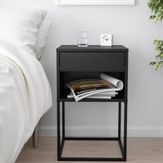 VIKHAMMER black, Bedside table, 40x39 cm - IKEA