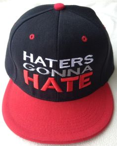 Snap Back Humor Flat Bill Adjustable Hat Cap Haters Gonna Hate Black Red White